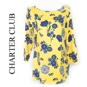 Charter Club Printed Bateau-Neck Top XS